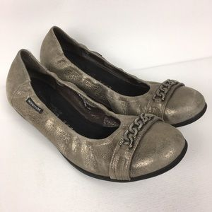 MEPHISTO Sz 10 Metallic Leather Ballerina Flats